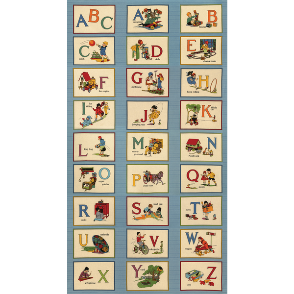 Moda - PANEL / Its Elementary / Picture ABC / Blue / 21780-12