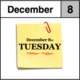 In-Store Appointment - December 8th, Tuesday (7:00pm-7:45pm)