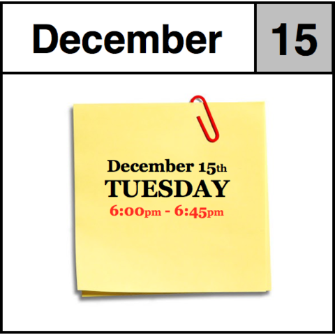 In-Store Appointment - December 15th, Tuesday (6:00pm-6:45pm)