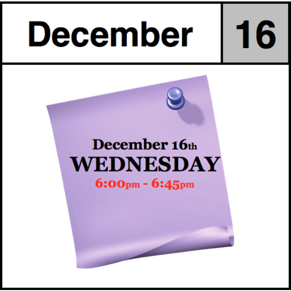 In-Store Appointment - December 16th, Wednesday (6:00pm-6:45pm)