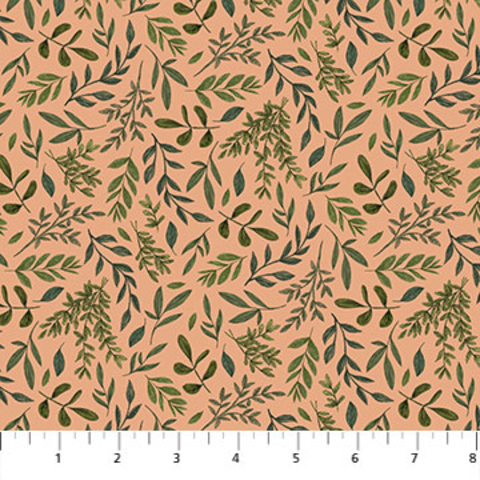 Northcott - Bee Kind / Leaf Toss / Peach / 23787-22