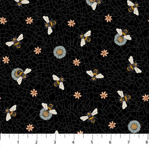 Northcott - Bee Kind / Large Bee Toss / Black / 23788-99