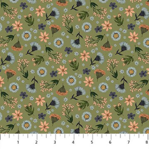 Northcott - Bee Kind / Floral Toss / Green / 23786-74