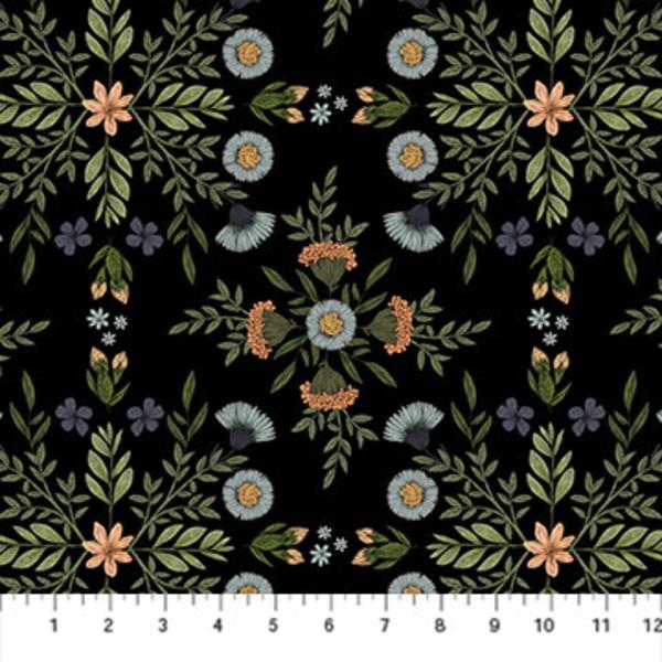 Northcott - Bee Kind / Bee Kind Floral / Black / 23784-99