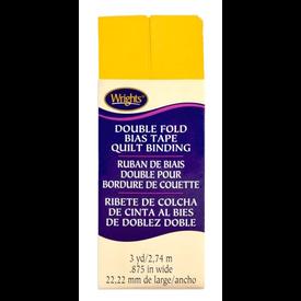 "Bias Tape - (7/8"") Wide Double Fold - Yellow"
