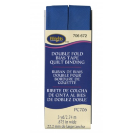 """Bias Tape - (7/8"""") Wide Double Fold - Snorkel Blue"""