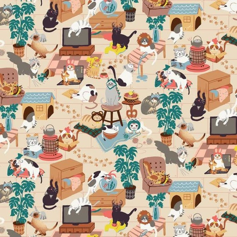 Paintbrush Studios - Hats for Cats / Cats in the house / Cream / 120-208001