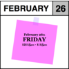 Appointment - February 26th - Friday (12:15pm-1:15pm)
