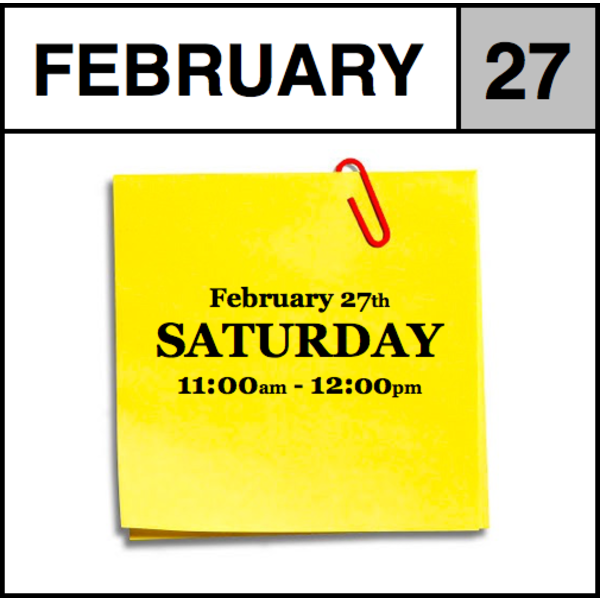Appointments Appointment - February 27th - Saturday (11:00am-12:00pm)