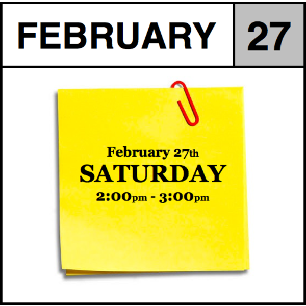 Appointments Appointment - February 27th - Saturday (2:00pm-3:00pm)