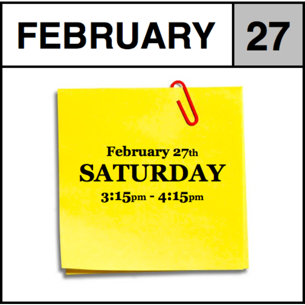 Appointments Appointment - February 27th - Saturday (3:15pm-4:15pm)