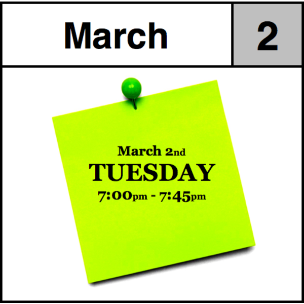 Appointments Appointment - March 2nd - Tuesday (7:00pm-7:45pm)