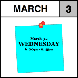 Appointments Appointment - March 3rd - Wednesday (6:00pm-6:45pm)
