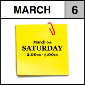 Appointments Appointment - March 6th - Saturday (2:00pm-3:00pm)