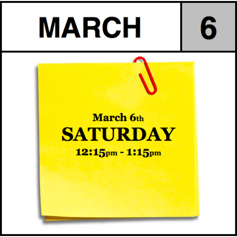 Appointment - March 6th - Saturday (12:15pm-1:15pm)