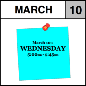 Appointments Appointment - March 10th - Wednesday (5:00pm-5:45pm)
