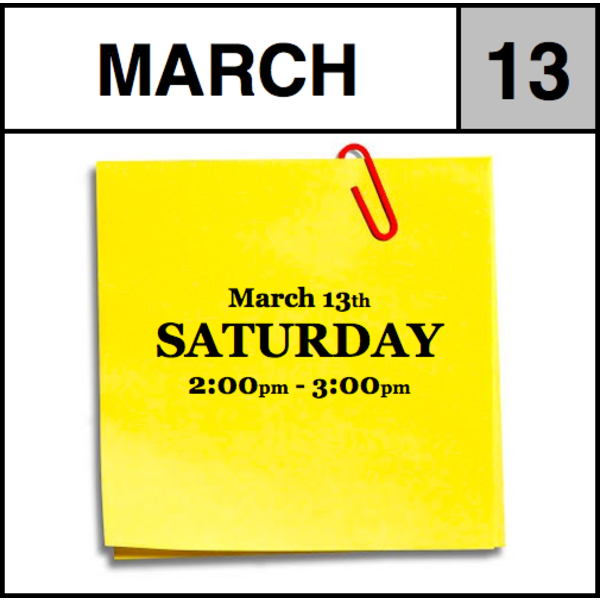 Appointments Appointment - March 13th - Saturday (2:00pm-3:00pm)