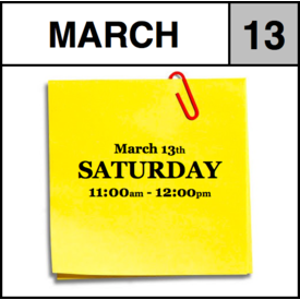 Appointments Appointment - March 13th - Saturday (11:00am-12:00pm)