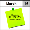 Appointment - March 16th - Tuesday (6:00pm-6:45pm)