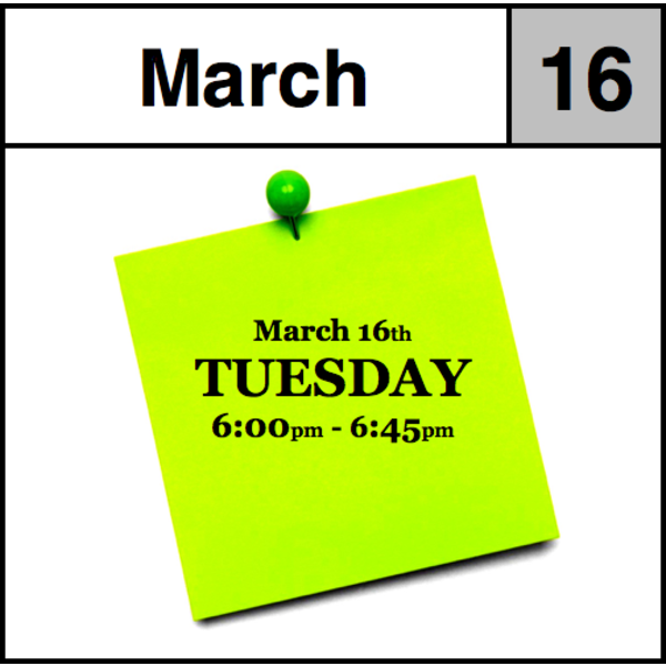 Appointments Appointment - March 16th - Tuesday (6:00pm-6:45pm)