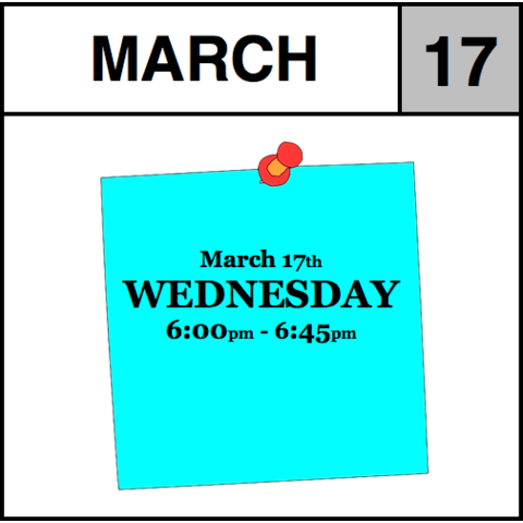 Appointment - March 17th - Wednesday (6:00pm-6:45pm)
