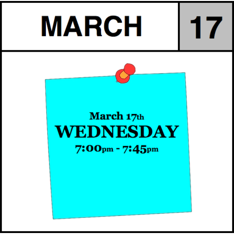 Appointment - March 17th - Wednesday (7:00pm-7:45pm)
