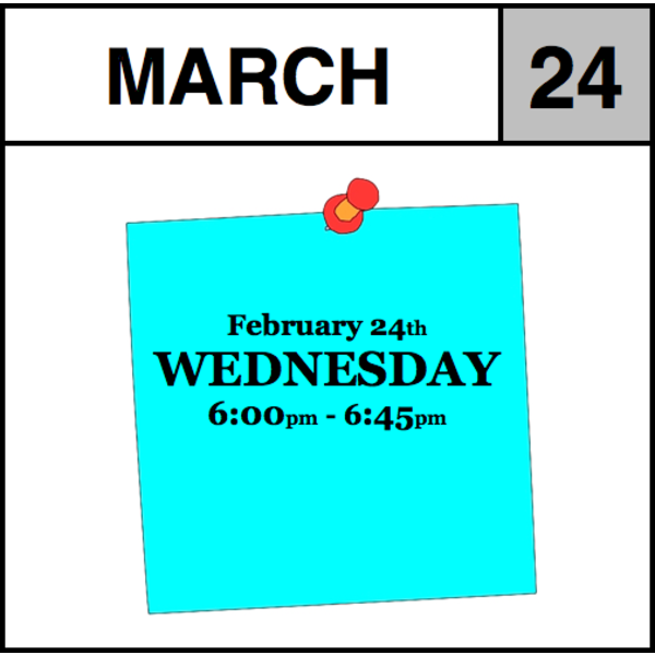 Appointments Appointment - March 24th - Wednesday (6:00pm-6:45pm)