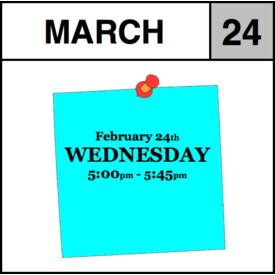 Appointments Appointment - March 24th - Wednesday (5:00pm-5:45pm)