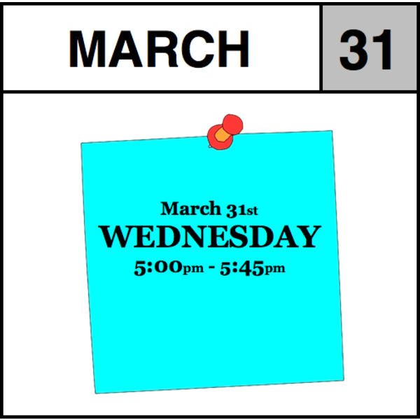 Appointments Appointment - March 31st - Wednesday (5:00pm-5:45pm)