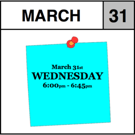 Appointments Appointment - March 31st - Wednesday (6:00pm-6:45pm)