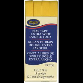 Bias Tape - (.5) Wide Double Fold - Yellow