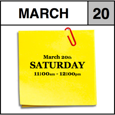 Appointment - March 20th - Saturday (11:00am-12:00pm)