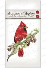 Cardinal on Pine Napkins