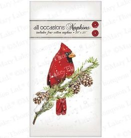 Cardinal on Pine Napkins