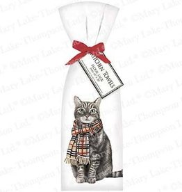 Cat w/Burberry Scarf Towel Set