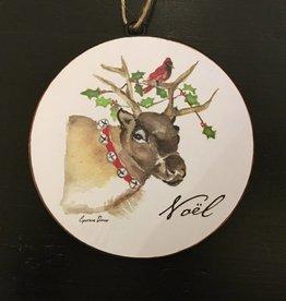 Noel Reindeer Disc Ornament