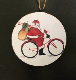 Santa on Bike Disc Ornament