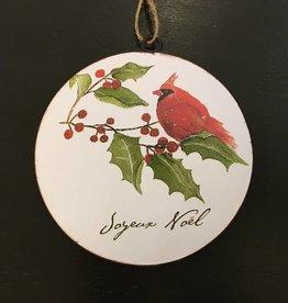 Joyeux Noel Cardinal Disc Ornament
