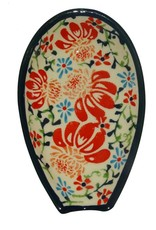 Spoon Rest - Red/Blue Flowers