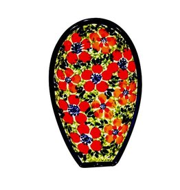 Spoon Rest - Red/Flowers