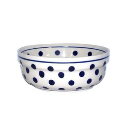 Soup/Salad/Cereal Bowl - White w/blue dots