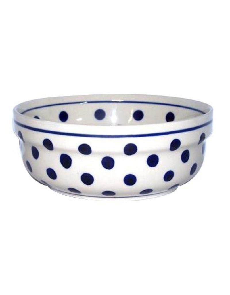 Soup/Salad/Cereal Bowl - White w/blue dots