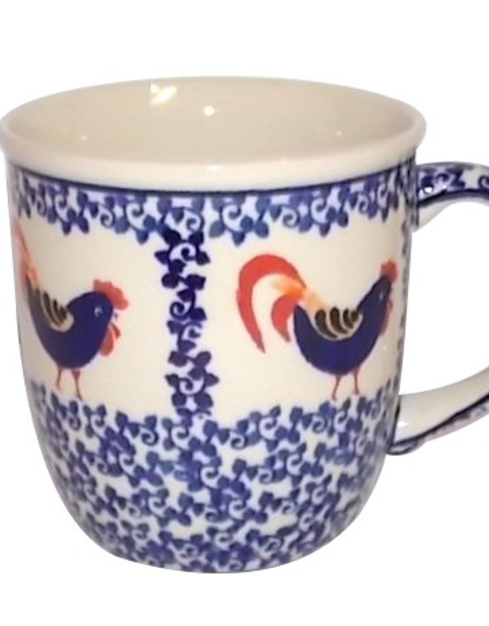 Beautiful Polish Pottery Mug Rooster 3 X 4 European Splendor