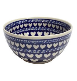 Cereal/Soup Bowl-Blue w/White Hearts