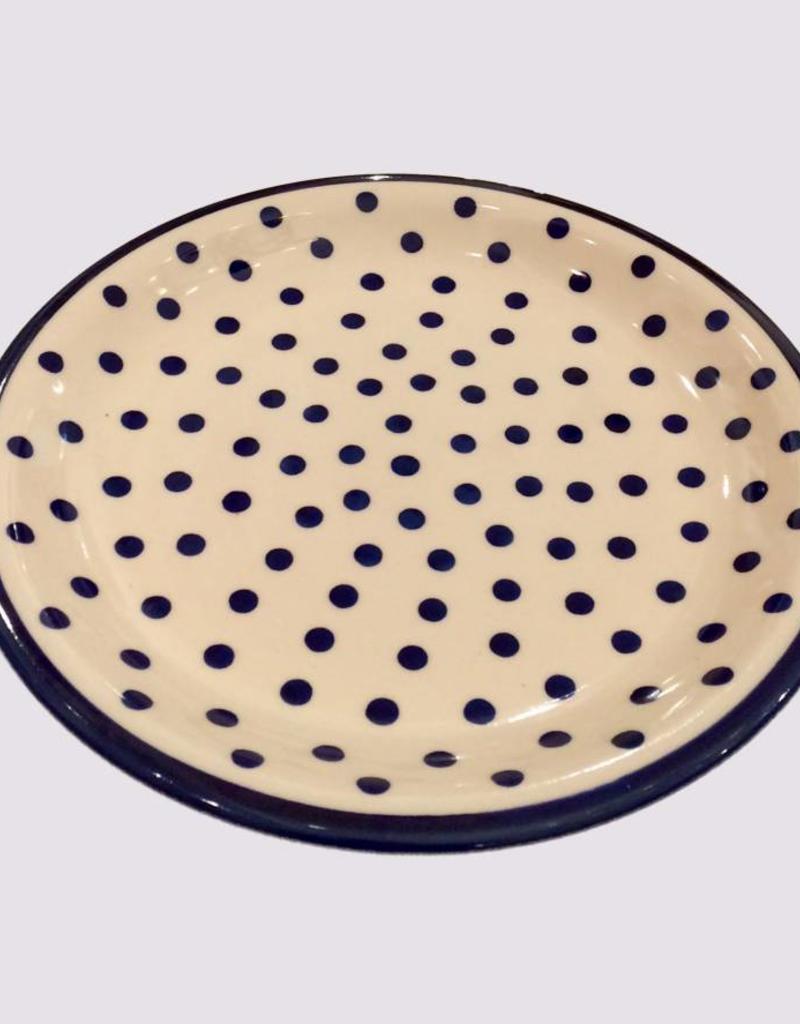 Dinner Plate - Dots w/Blue Rim