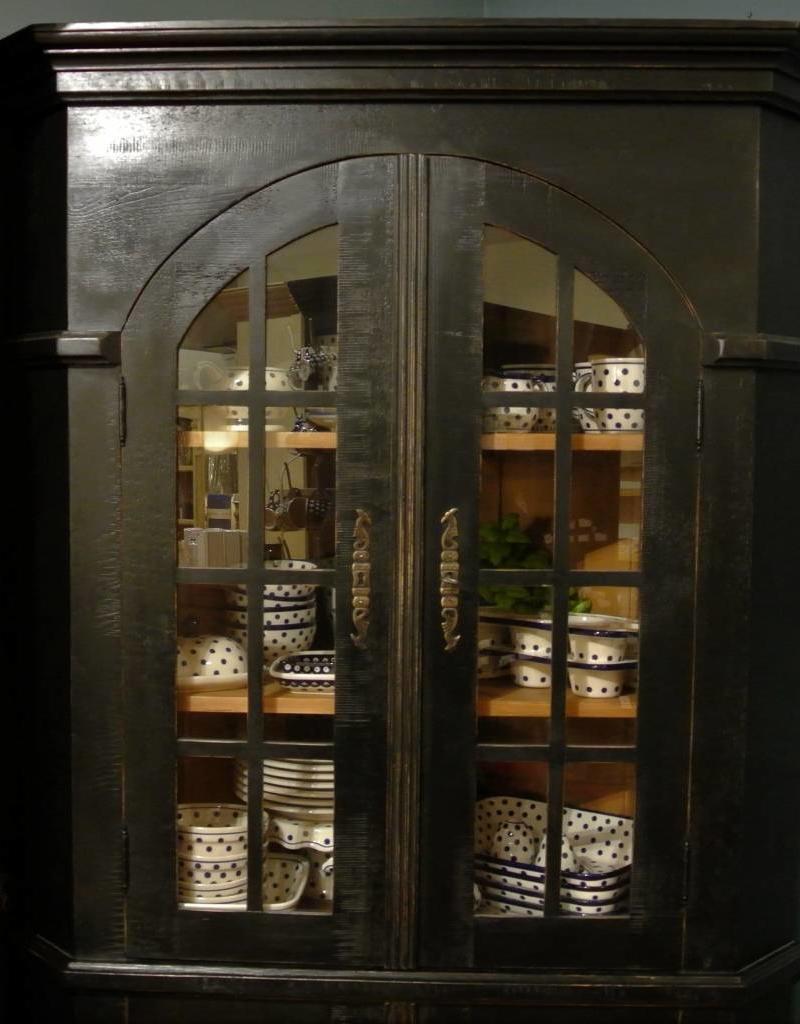 Corner Cabinet - Black w/Glass