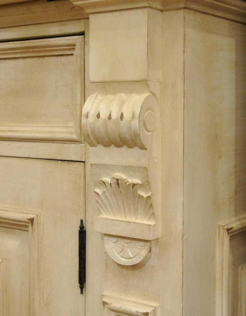 """Hutch with 3 doors, 7 ' x 6' x 21 1/2"""",   Distressed Cream distress / Waxed Top"""