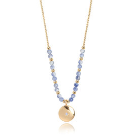 Katie Loxton KLSS - Friendship Necklace - yellow gold with Blue Lace Agate Stone