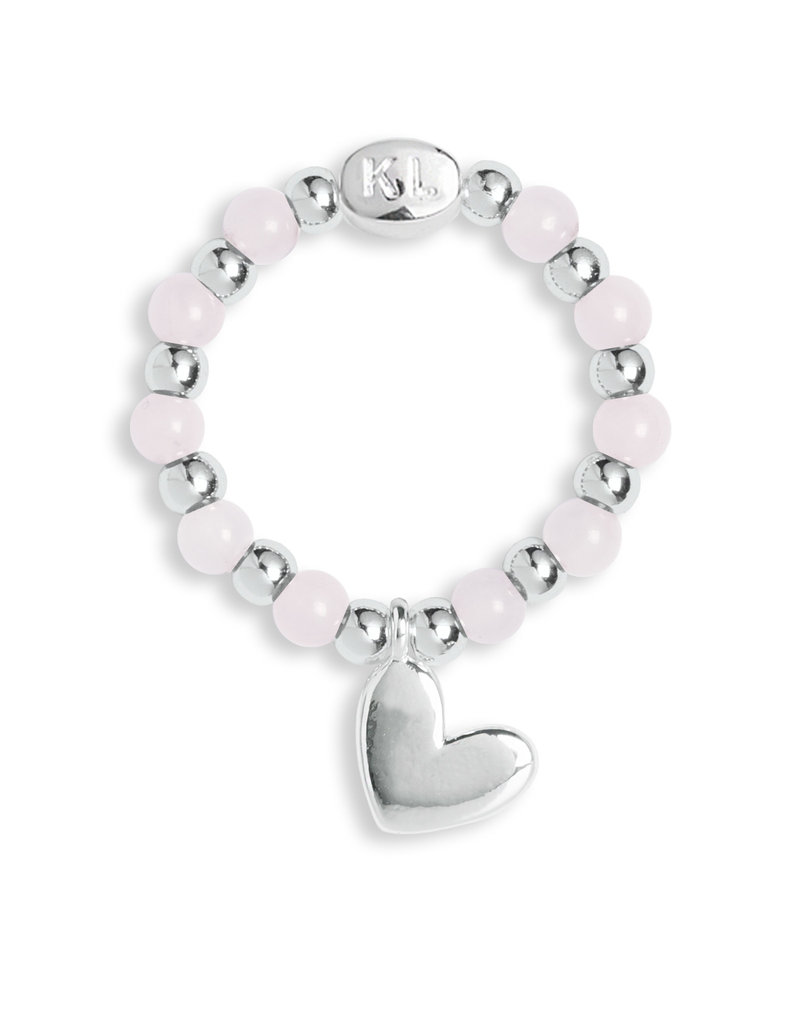 Katie Loxton KLSS - Love Ring - Silver with Rose Quartz Stones - Stretchy size M