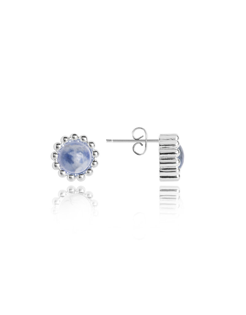 Katie Loxton KLSS - Friendship Studs - Silver Earrings with Blue Lace Agate Stones